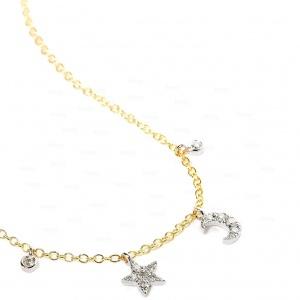 14K Gold 0.20 Ct. Genuine Diamond Star Moon Charm Pendant Necklace Fine Jewelry