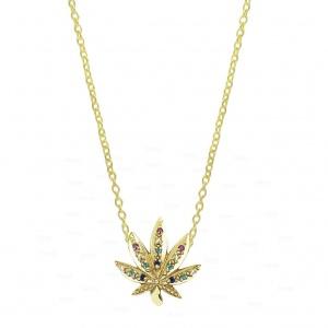 14K Gold 0.18 Ct. Genuine Multi Sapphire Gemstone Rainbow Leaf Pendant Necklace