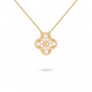 14K Gold 0.40 Ct. Genuine Diamond Vintage Style Floral Pendant Necklace Jewelry