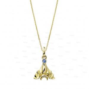14K Gold Genuine Diamond-Blue Sapphire Bat Pendant Necklace Halloween Gift