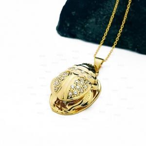 14K Gold Genuine Diamond Scarab Egyptian Beetle Pendant Necklace Fine Jewelry