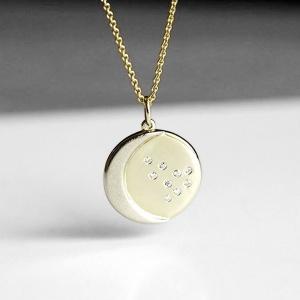 14K Gold 0.05 Ct. Genuine Diamond Crescent Moon Disc Pendant Necklace Jewelry