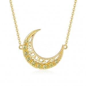 14K Gold 0.10 Ct. Genuine Yellow Diamond Crescent Moon Pendant Necklace