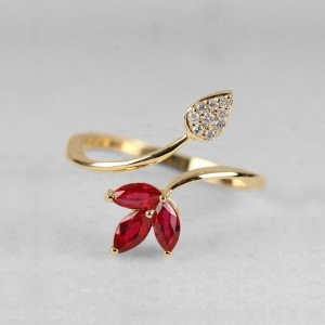 14K Gold Genuine Diamond And Ruby Gemstone Pear Design Ring Fine Jewelry