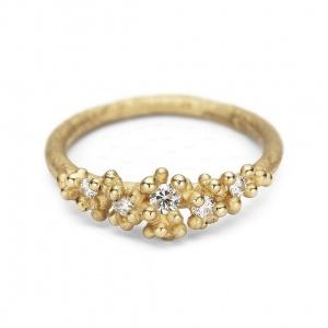 14K Gold 0.12 Ct. Genuine Diamond Golden Granules Ring Handmade Fine Jewelry