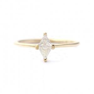 14K Gold 0.11 Ct. Genuine Trillion Diamond Rhombus Design Ring Fine Jewelry