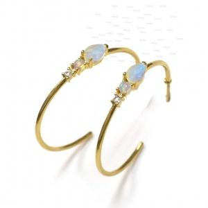 14K Gold Genuine Diamond Opal Moonstone 30 mm Hoop Earrings Fine Jewelry
