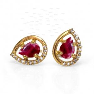 14K Gold Genuine Diamond And Ruby Gemstone Teardrop Studs Earrings Fine Jewelry