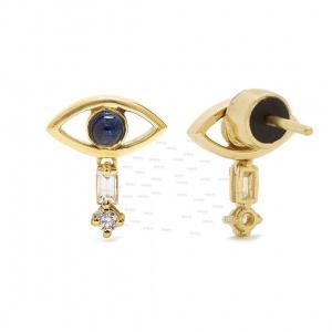 14K Gold Genuine Diamond Blue Sapphire Cabochon Evil Eye Drop Earrings Jewelry