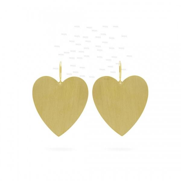 14K Solid Gold Long Heart Dangle Hook Earrings Best Gift For Special One