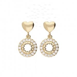 14K Gold 0.50 Ct. Genuine Diamond Mini Hearts Circle Design Drop Earrings