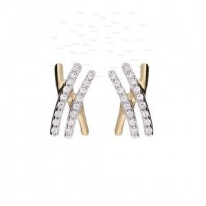 14K Gold 0.30 Ct. Genuine Diamond Double Bar Minimalist Earrings Gift For Her