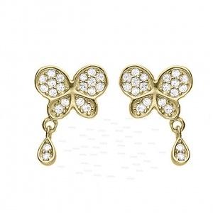 14K Gold 0.35 Ct. Genuine Dangling Diamond Butterfly Studs Earrings Fine Jewelry
