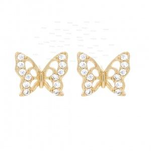 14K Gold 0.20 Ct. Genuine Diamond Mini Butterfly Studs Earrings Fine Jewelry