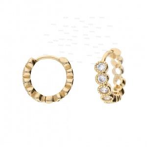 14K Gold 0.35 Ct. Genuine Diamond Milgrain Hoop Huggie Earring Fine Jewelry Gift
