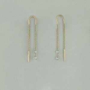 14K Yellow Gold VS Clarity Genuine Drilled Diamond Threader Earrings Gift