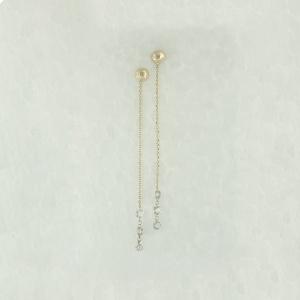 14K Yellow Gold VS Clarity Genuine Drilled Diamond Ball Drop Chain Earrings