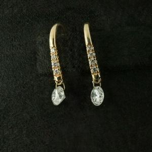 14K Yellow Gold VS Clarity Genuine Drilled Diamond Hook Dangle Earrings Gift