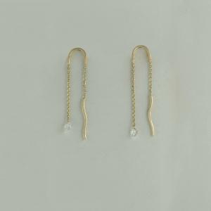 14K Yellow Gold VS Clarity Genuine Drilled Diamond Threader Earrings Jewelry