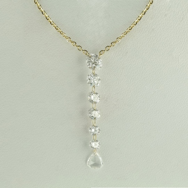 14K Yellow Gold VS Clarity Genuine Drilled Diamond Necklace Fine Jewelry Gift