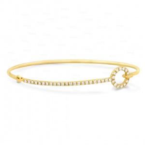 14K Gold 0.37 Ct. Genuine Diamond Bangle Bracelet Fine Jewelry-New Arrival