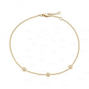 14K Gold 0.15 Ct. Genuine Three Bezel Set Diamond Wedding Bracelet Fine Jewelry