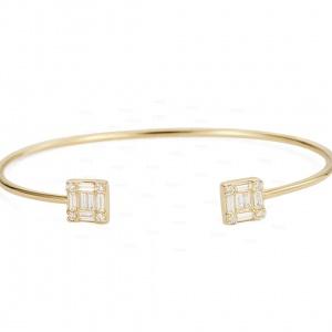 14K Gold 0.60 Ct. Genuine Round-Baguette Diamond Cuff Bangle Bracelet Jewelry