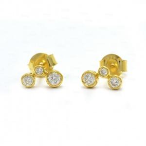 14K Gold 0.27 Ct. Genuine Three Diamond Minimalist Studs Earrings Fine Jewelry