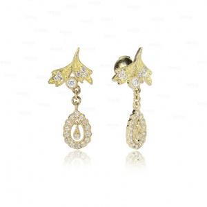 14K Gold 0.50 Ct. (Half Carat) Genuine Diamond Dangle Earrings Fine Jewelry