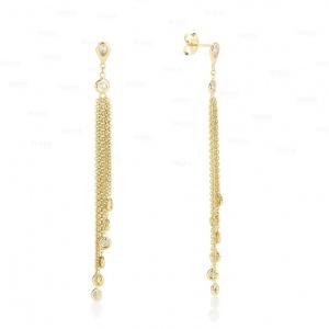 14K Gold 0.52 Ct. Genuine Diamond Long Tassel Earrings Wedding Fine Jewelry
