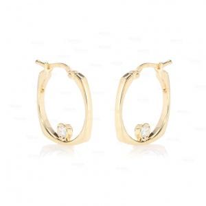 14K Gold 0.08Ct. Genuine Diamond Unique Wedding Hoop Huggie Earring Fine Jewelry