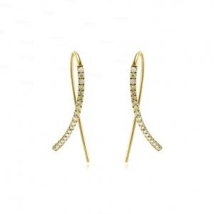 14K Gold 0.25 Ct. Genuine Diamond Bar Stick Hook Earrings Fine Jewelry