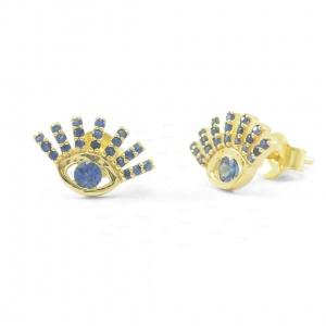 14K Gold 1.00 Ct. Genuine Blue Sapphire Evil Eye Studs Earrings Fine Jewelry