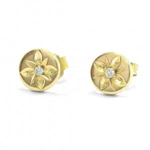 14K Gold 0.03 Ct. Genuine Diamond Circle Engraved Flower Earrings Fine Jewelry