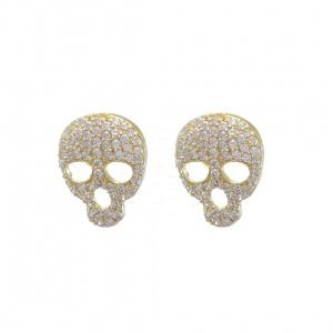 14K Gold 0.42 Ct. Genuine Diamond Skull Studs Halloween Earrings Fine Jewelry