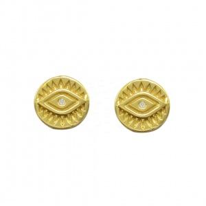 14K Gold 0.01 Ct. Genuine Diamond Evil Eye Disc Studs Earrings Fine Jewelry