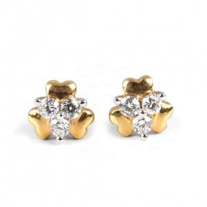 14K Gold 0.12 Ct. Genuine Diamond Valentine Special Heart Design Studs Earrings