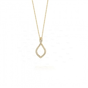 14K Gold 0.30 Ct. Genuine Diamond Infinity Knot Mother's Day Pendant Necklace