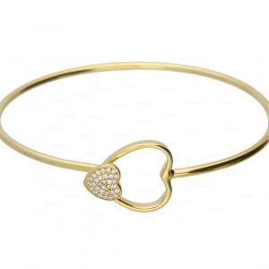 14K Gold 0.19 Ct. Genuine Diamond Double Heart Bangle Bracelet Fine Jewelry
