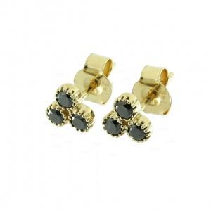 14K Gold 0.42 Ct. Genuine Black Diamond Floral Studs Earrings Fine Jewelry