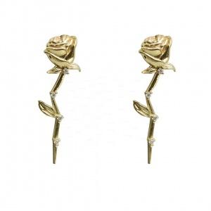 14K Gold 0.05 Ct. Genuine Diamond 23 mm Long Rose Flower Earrings Fine Jewelry