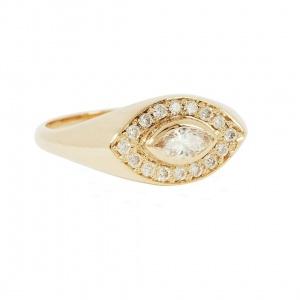 14K Gold 0.28Ct. Genuine Marquise-Round Diamond Evil Eye Signet Ring Fine Jewelry