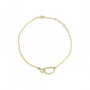Solid 14K Plain Gold Link Double Heart Chain Bracelet Fine Jewelry For Women