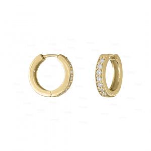0.21 Ct. Genuine Diamond Statement Hoop Earrings in 14k Gold Jewelry