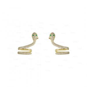 14K Gold Genuine Diamond And Emerald Gemstone Unique Snake Earrings Fine Jewelry