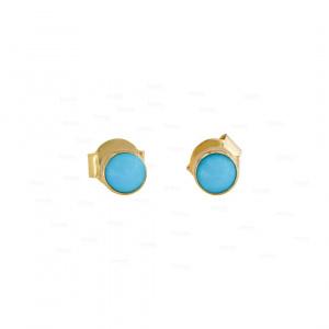 14K Gold 0.25 Ct. Genuine Turquoise Gemstone 4 mm Studs Earrings Fine Jewelry