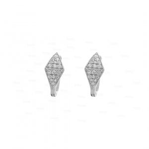 14K Gold 0.20 Ct. Genuine Diamond Double Triangle Huggie Earrings Fine Jewelry