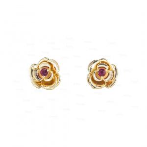 14K Gold 0.04 Ct. Genuine Ruby Gemstone Rose Flower Studs Earrings Fine Jewelry