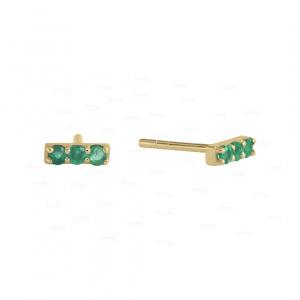 14K Gold 0.09 Ct. Emerald Gemstone Minimalist Bar Earrings Fine Jewelry
