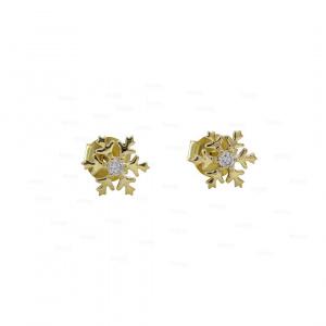 14K Gold 0.08 Ct. Genuine Diamond Snowflake Design Studs Earrings Fine Jewelry